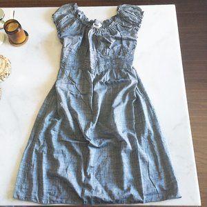 New! Max Studio grey dress smocking waist ruffle